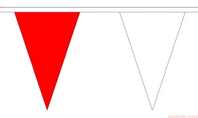 RED & WHITE TRIANGULAR BUNTING - 20 METRES 54 FLAGS